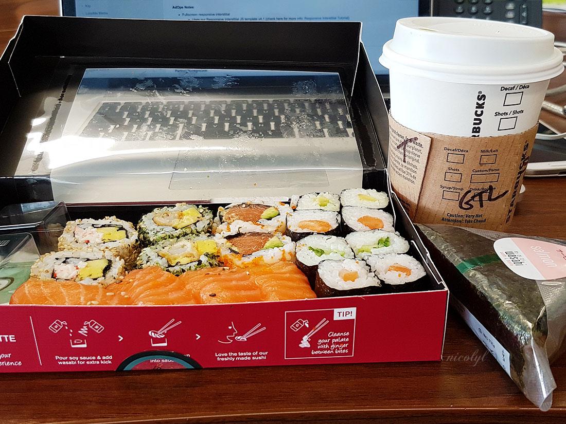 sushi wasabi leeds starbucks green tea matcha almond milk latte pescatarian