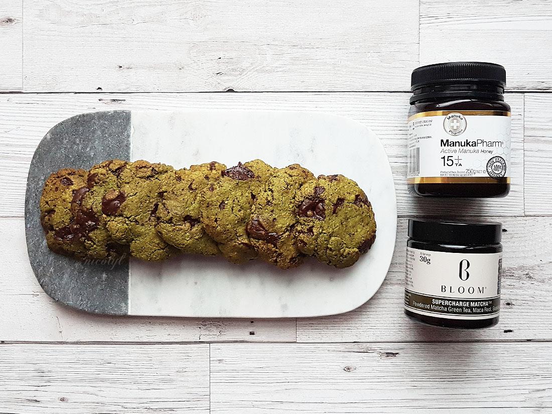 bloom supercharge matcha green tea manuka honey cookies