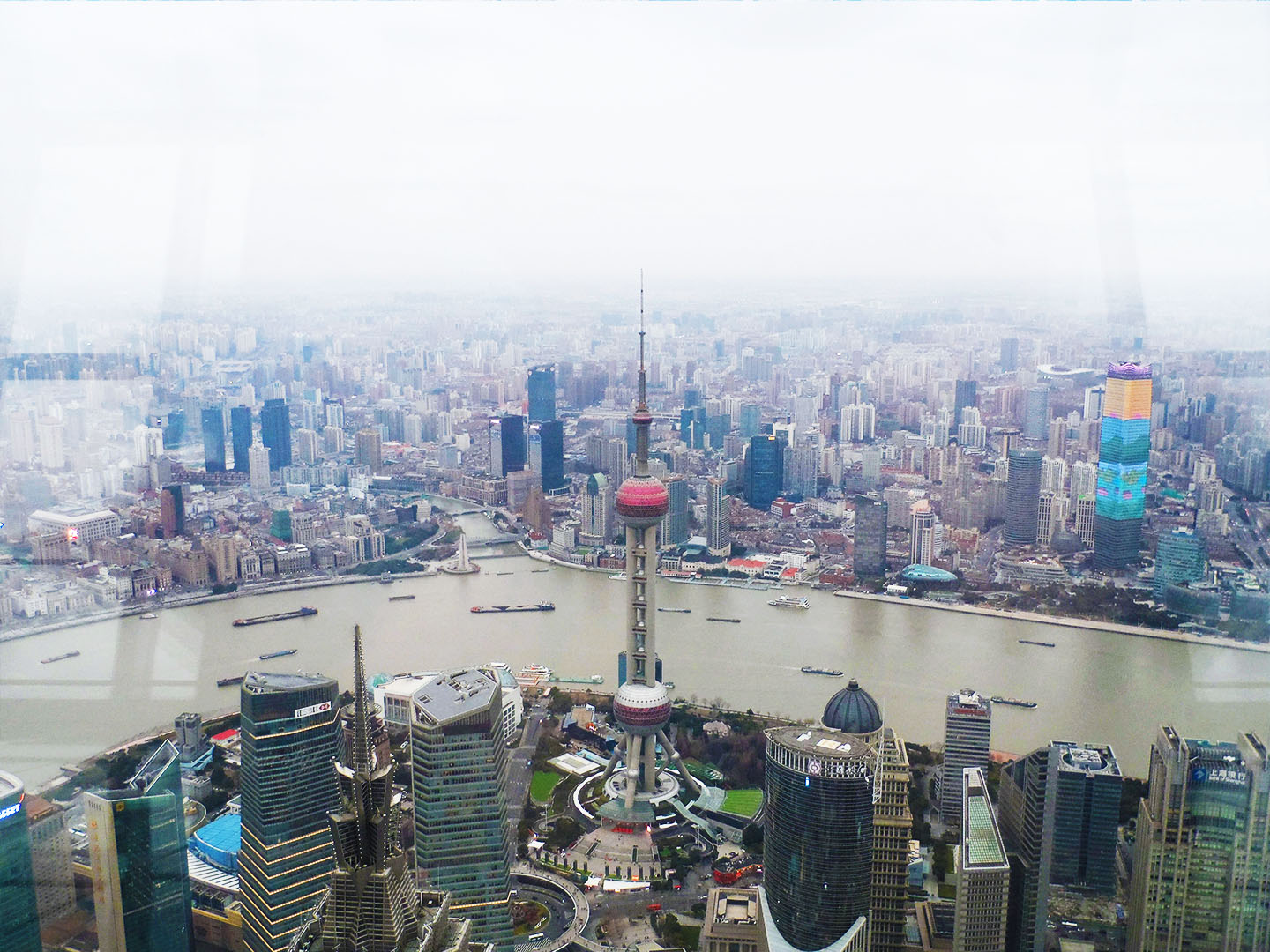 Shanghai world financial centre city day view oriental pearl tower