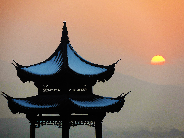 hangzhou west lake sunset