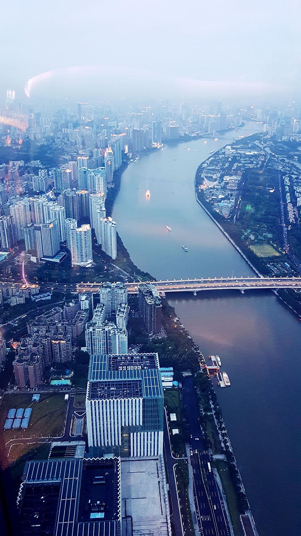 Guangzhou Guangdong canton tower sunset pearl river