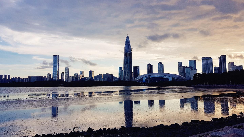 Shenzhen city sunset view