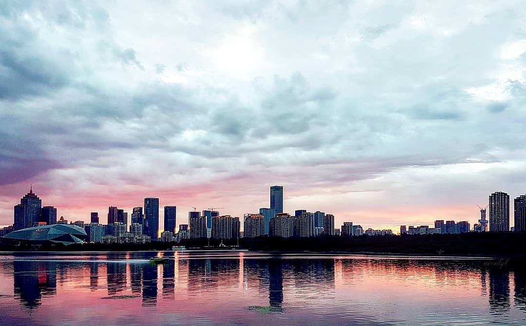 shenyang river sunset cityscape
