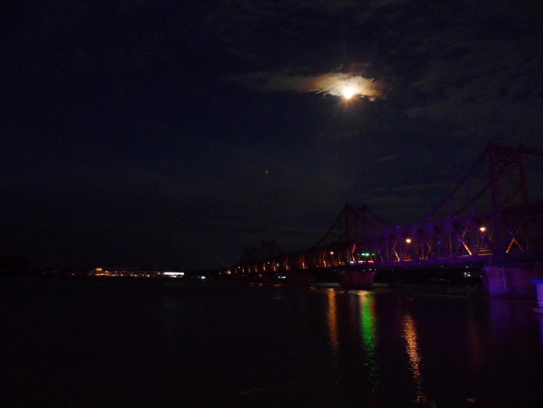 sino friendship bridge sinuiju north korean at night, dandong china