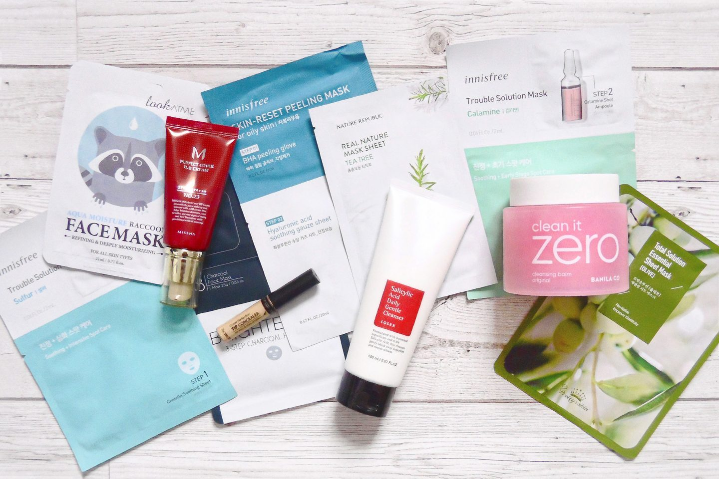 korean beauty skincare makeup products missha m perfect cover bb cream saem cover perfection tip concealer cosrx salicylic acid daily gentle cleanser banila co clean it zero cleansing balm innisfree sheet masks