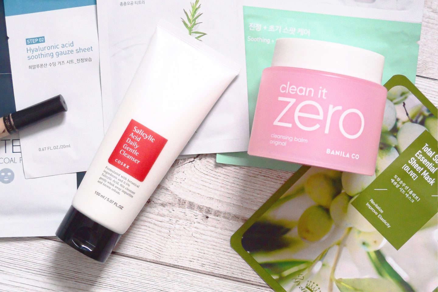 korean beauty makeup skincare products cosrx salicylic acid daily gentle cleanser banila co clean it zero cleansing balm