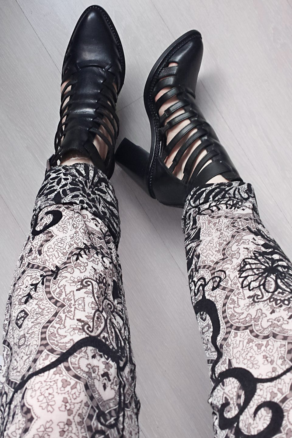 fashion trend style paisley print velvet trousers cut out heeled boots asos lavish alice